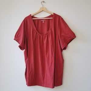Woman Within Ruffled Orange Blouse Shirt Tee Sz 4X